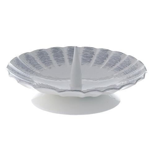 Bougeoir ondulé métal blanc argent pic bougie 9,5 cm 1