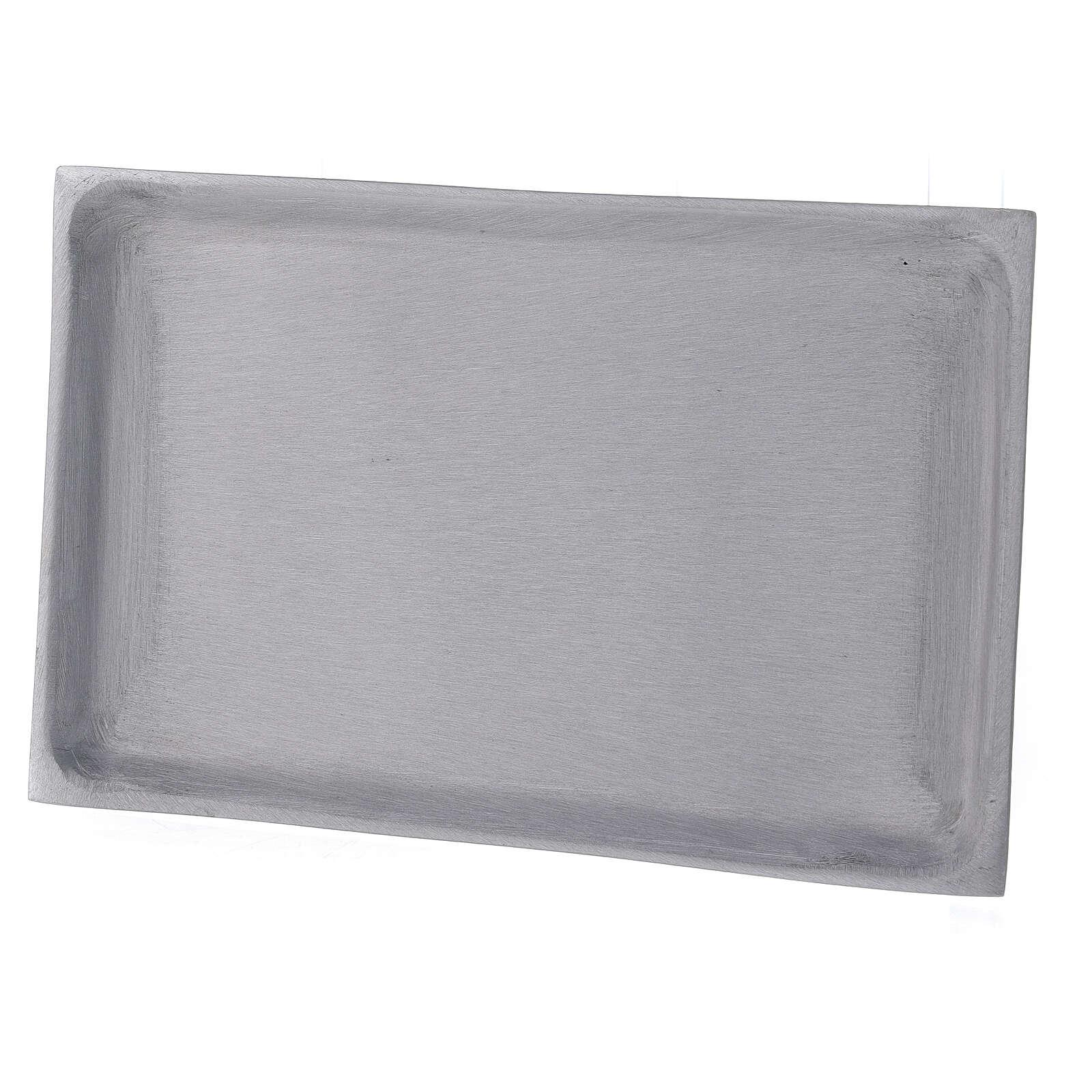 Bougeoir assiette rectangulaire laiton nickelé brossé 23x13 cm 3