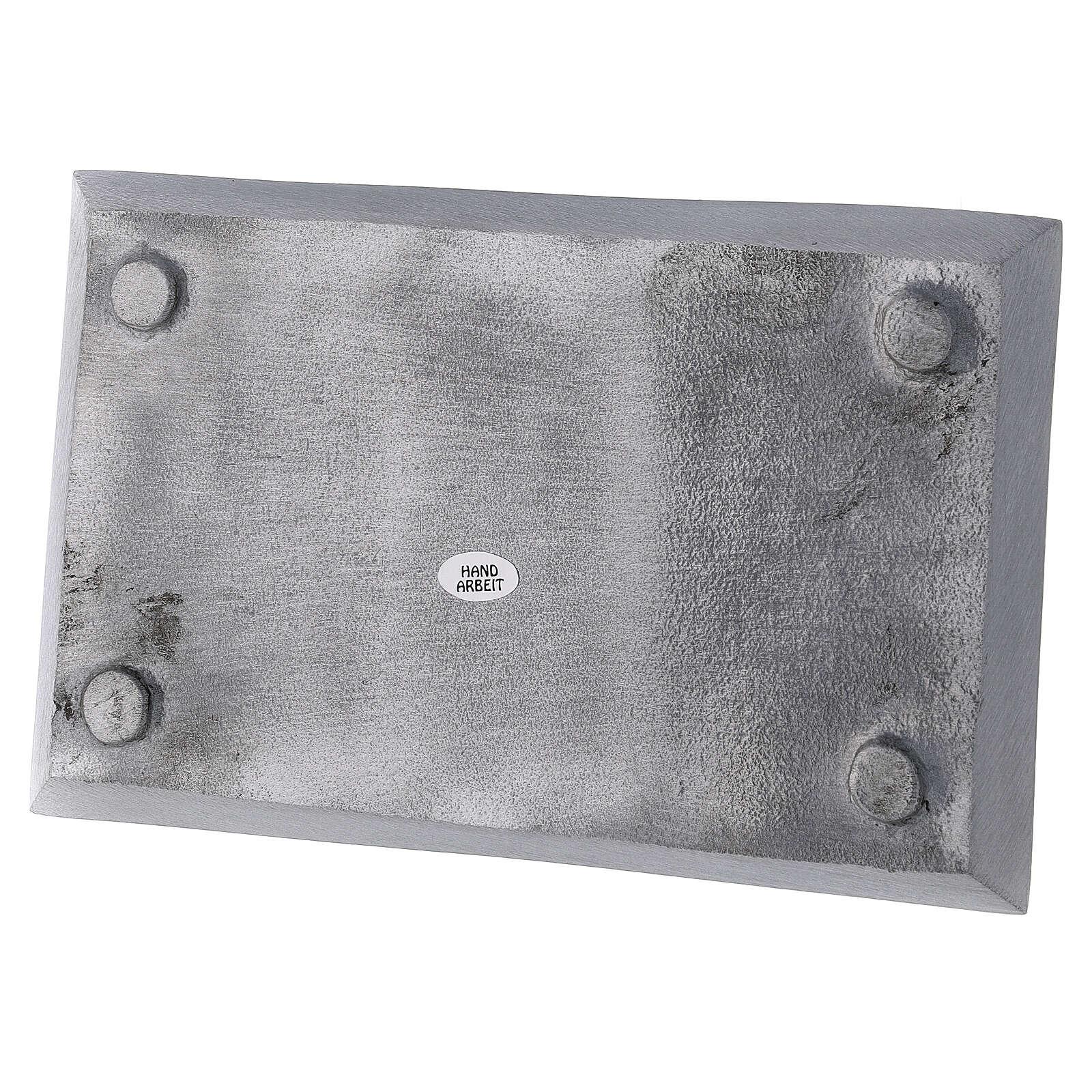 Portacandela piatto rettangolare ottone nichelato spazzolato 23x13 cm 3