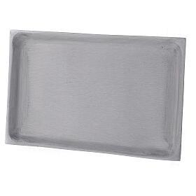 Portacandela piatto rettangolare ottone nichelato spazzolato 23x13 cm s2