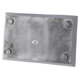Portacandela piatto rettangolare ottone nichelato spazzolato 23x13 cm s3