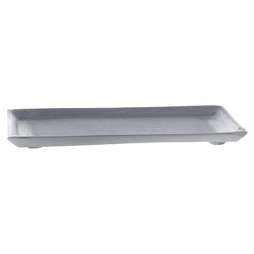 Portacandela piatto rettangolare ottone nichelato spazzolato 23x13 cm 1