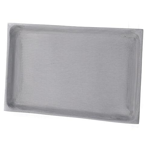 Portacandela piatto rettangolare ottone nichelato spazzolato 23x13 cm 2