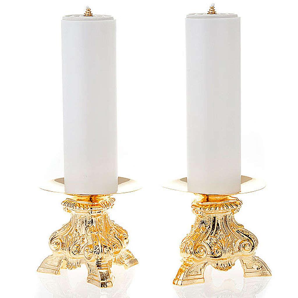 Coppia candelieri ottone dorato base treppiedi h15 4