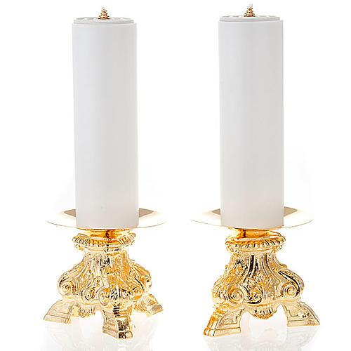 Coppia candelieri ottone dorato base treppiedi h15 1