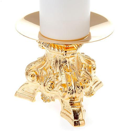 Coppia candelieri ottone dorato base treppiedi h15 2