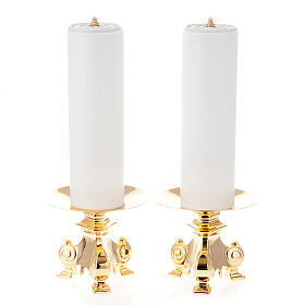 Metal candle holders: pair of wrought candle holders, height 15cm
