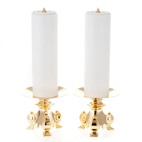 pair of wrought candle holders, height 15cm 1