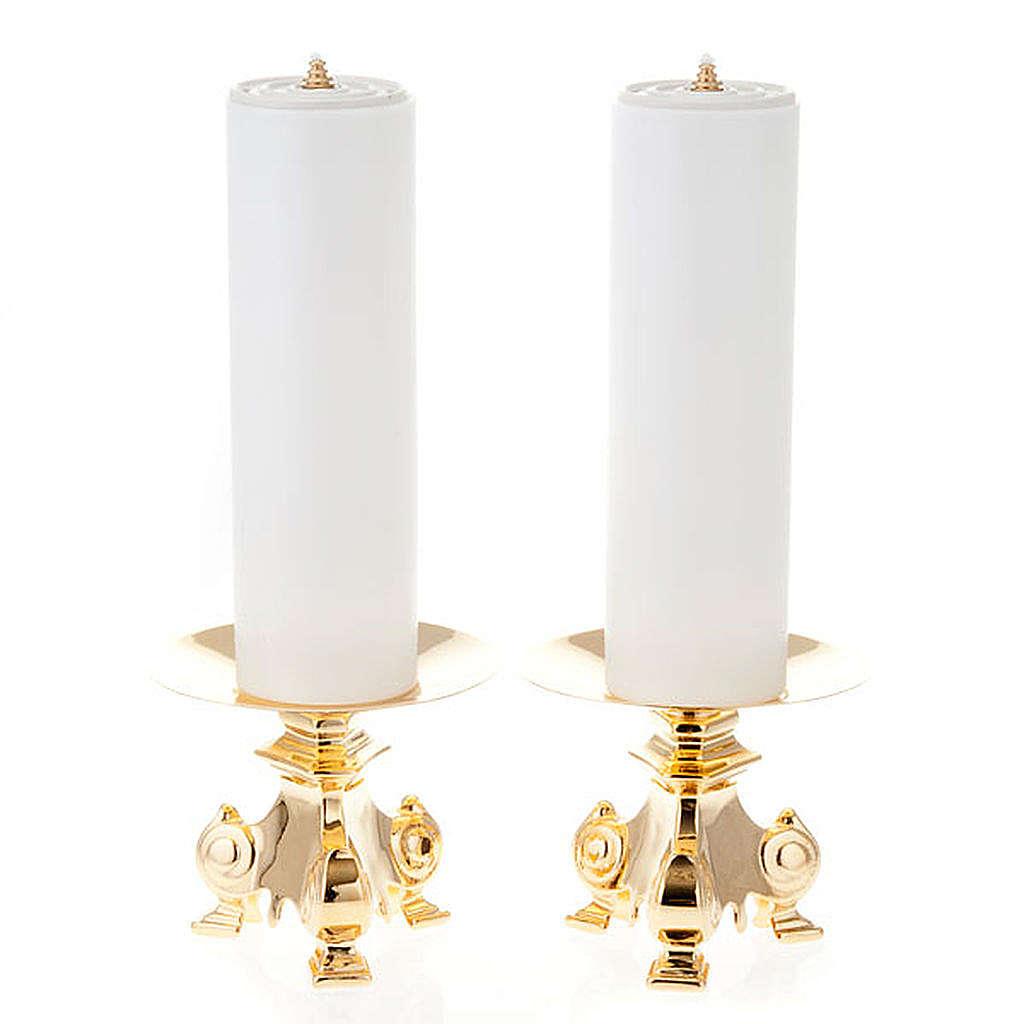 Coppia candelieri metallo dorato base treppiedi h15 4