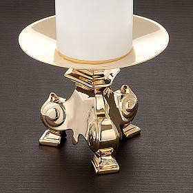 Coppia candelieri metallo dorato base treppiedi h15 s2