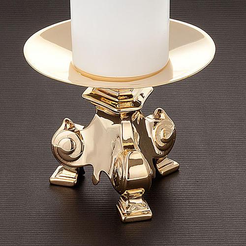 Coppia candelieri metallo dorato base treppiedi h15 2