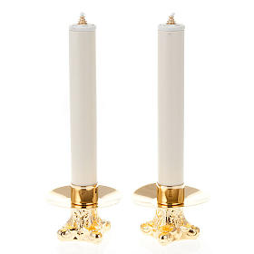 Pareja de candeleros en metal dorado trípode 12 cm altura s1