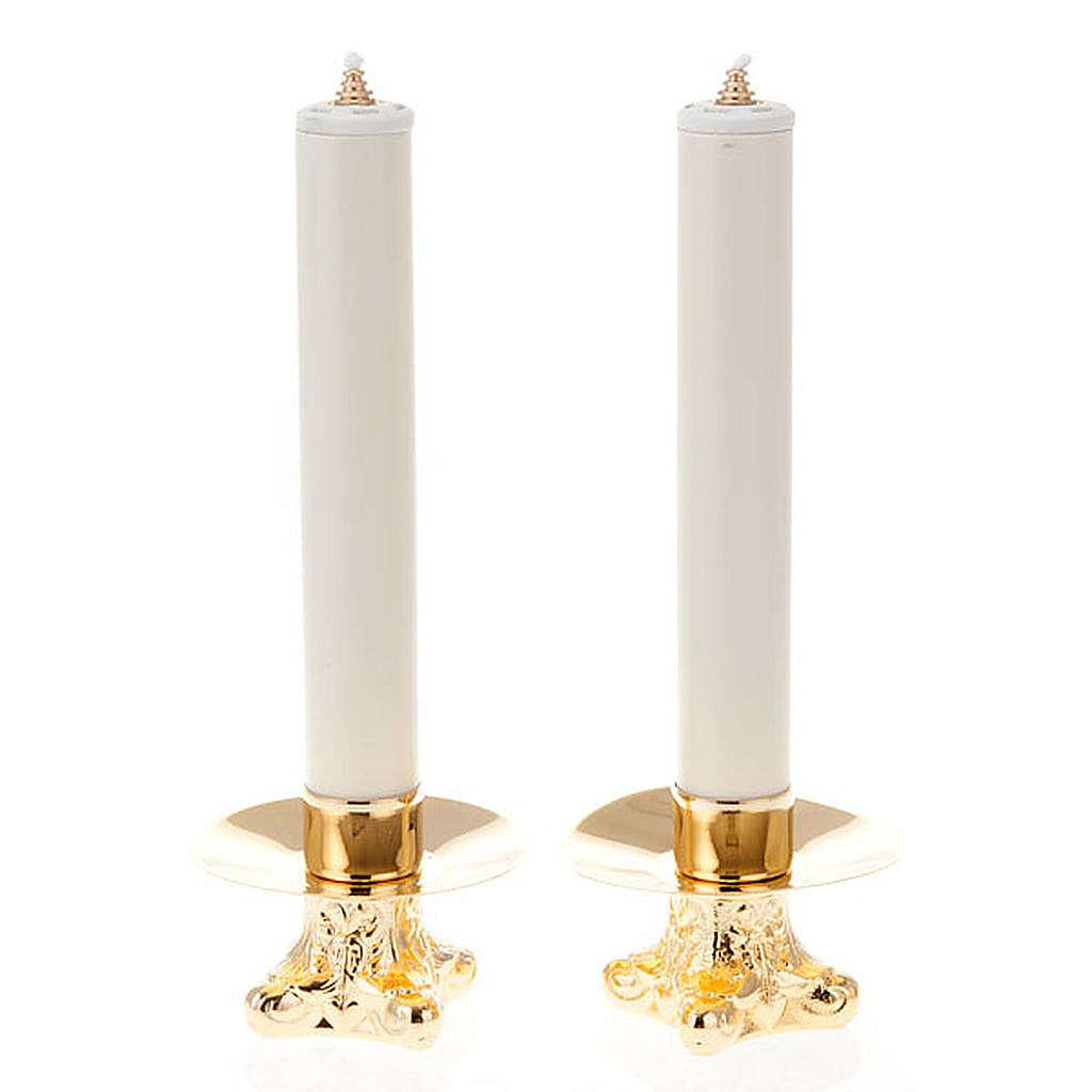 Coppia candelieri metallo dorato base treppiedi h12 4