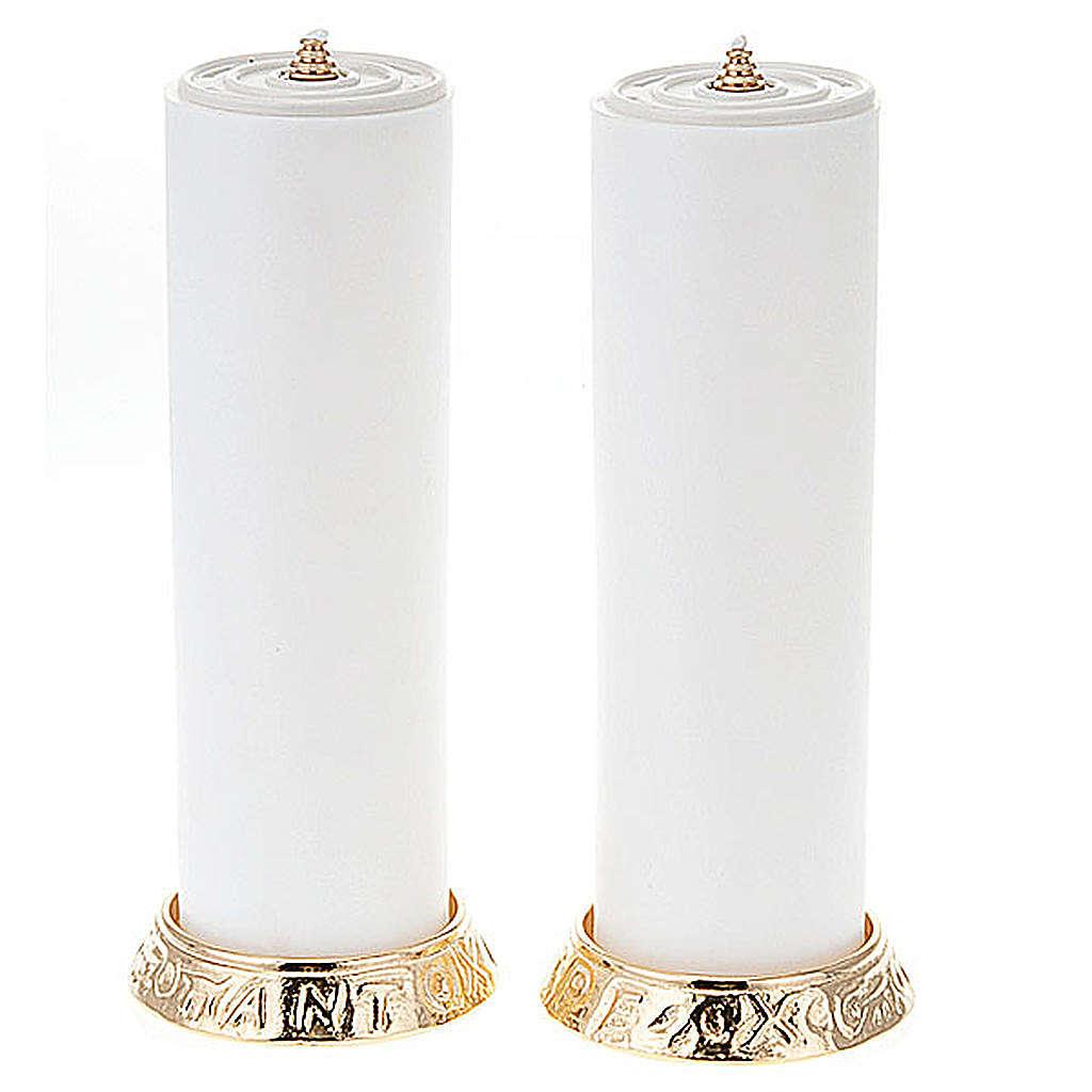 Coppia candelieri metallo dorato base h2.2 4