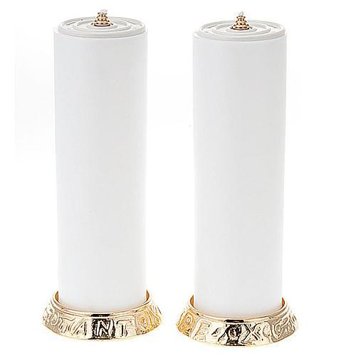 Coppia candelieri metallo dorato base h2.2 1