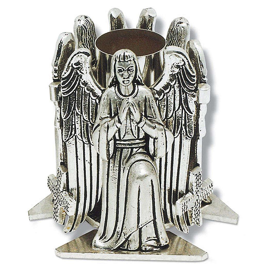 Portacandela bronzo argentato angelo in preghiera 4