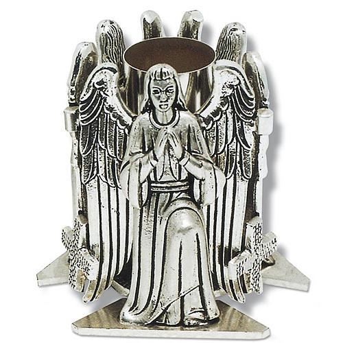 Portacandela bronzo argentato angelo in preghiera 1