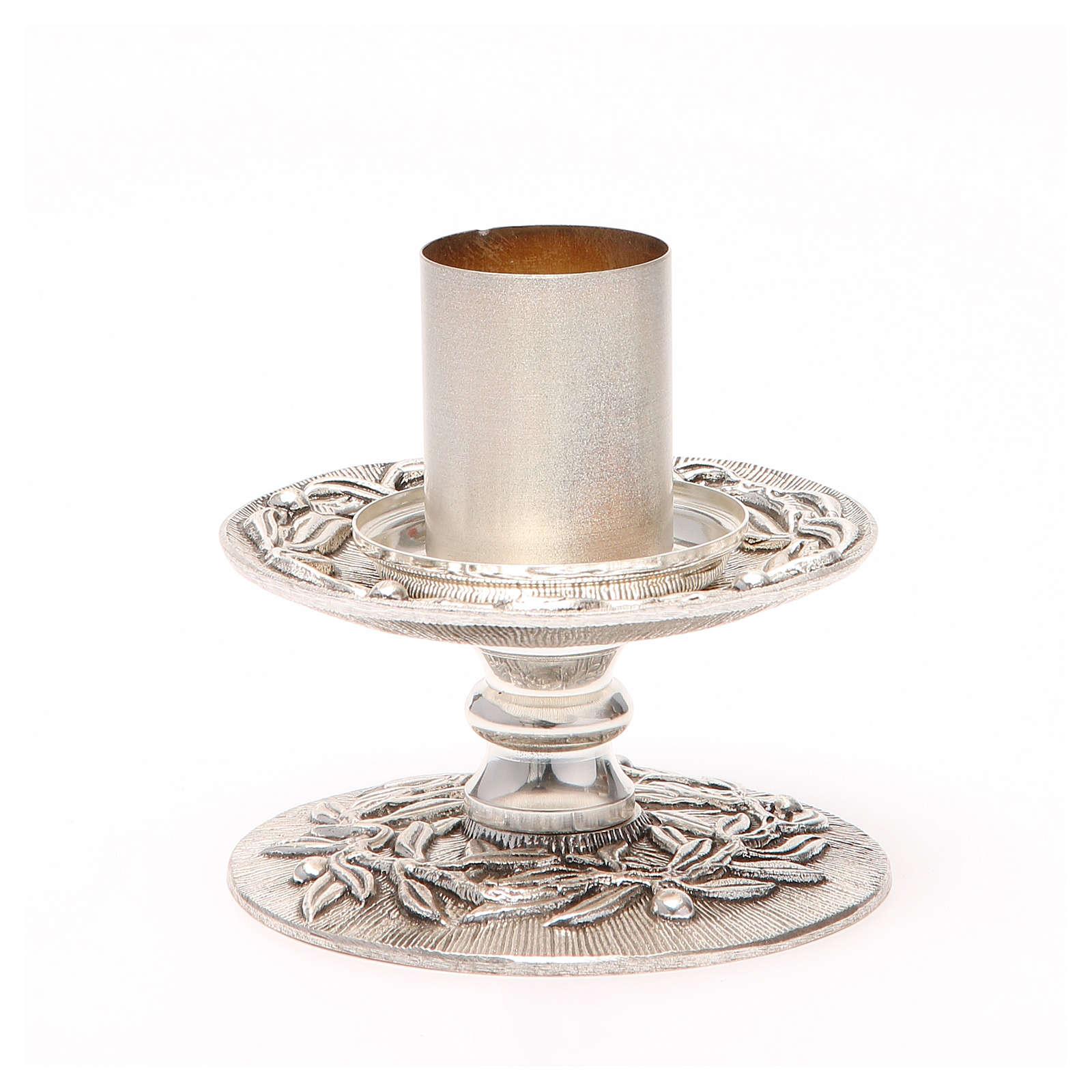 Portacandela bronzo argentato rami d'ulivo 4