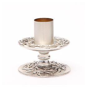 Portacandela bronzo argentato rami d'ulivo s7