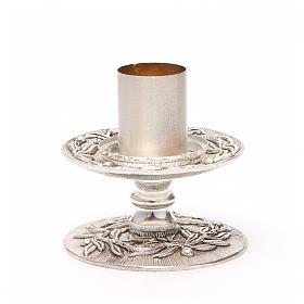 Portacandela bronzo argentato rami d'ulivo s8