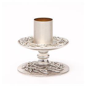 Portacandela bronzo argentato rami d'ulivo s9
