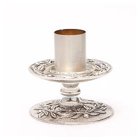 Portacandela bronzo argentato rami d'ulivo s1