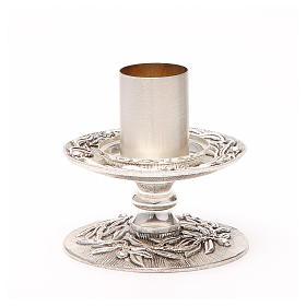 Portacandela bronzo argentato rami d'ulivo s2