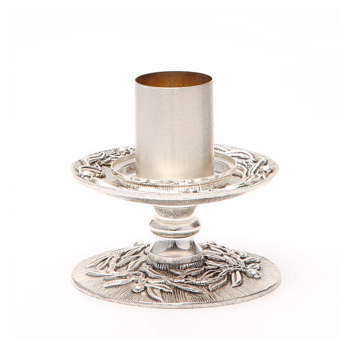 Portacandela bronzo argentato rami d'ulivo 7