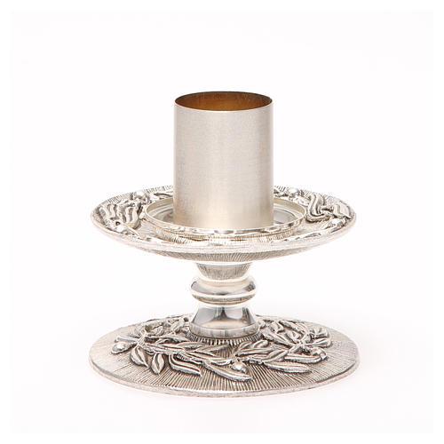 Portacandela bronzo argentato rami d'ulivo 9