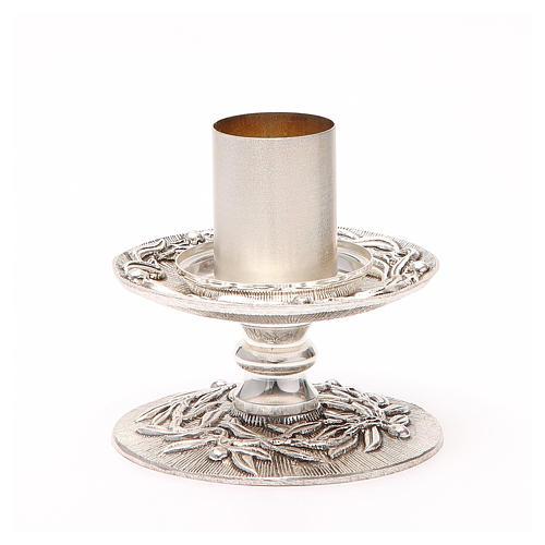 Portacandela bronzo argentato rami d'ulivo 2