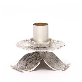 Portacandela bronzo argentato croci e decorazioni s1