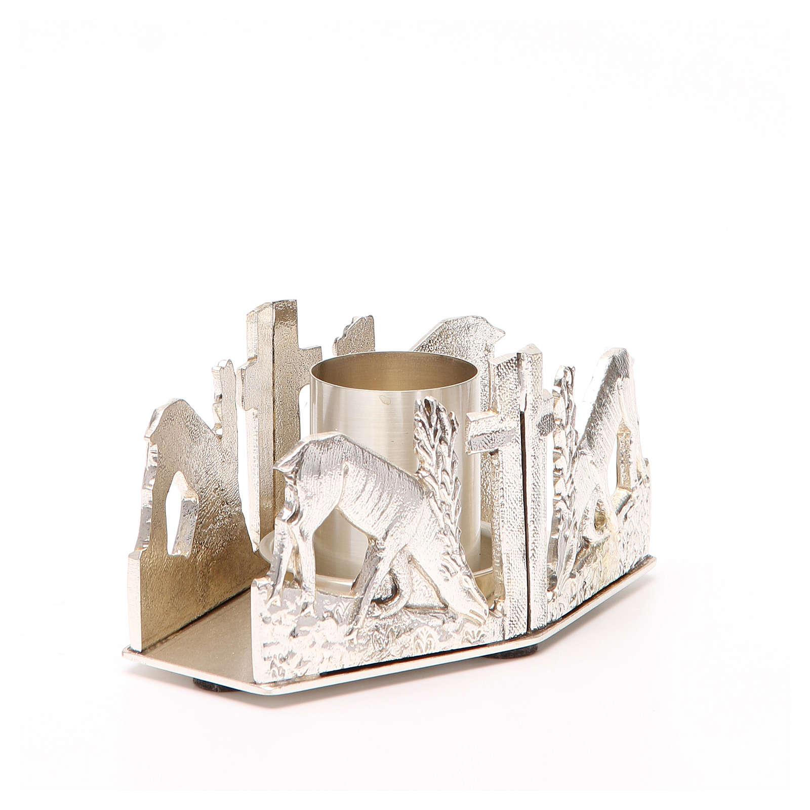 Portacandela bronzo argentato cervi fonte 4