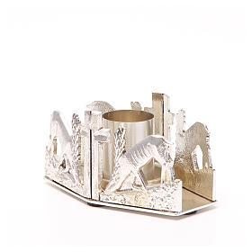 Portacandela bronzo argentato cervi fonte s2