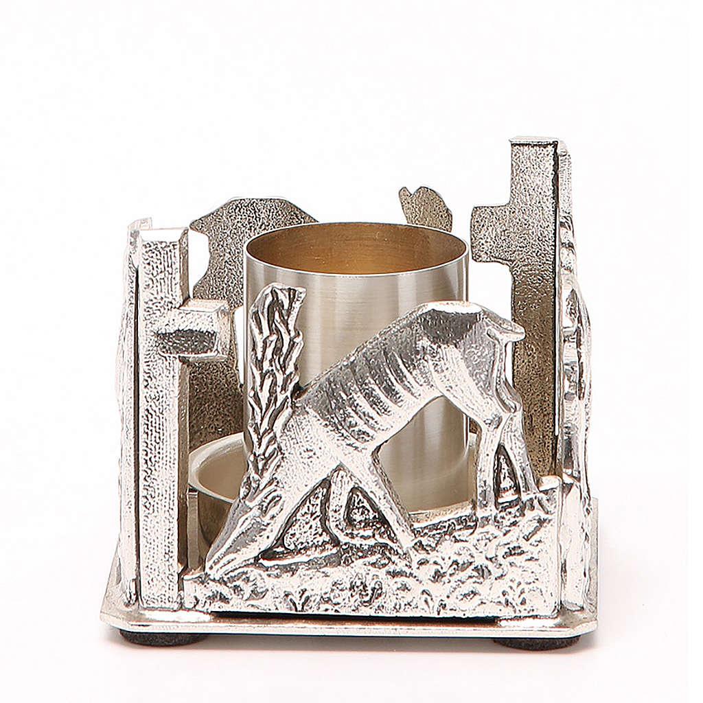 Portacandela bronzo argentato cervi alla fonte 4