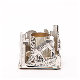 Portacandela bronzo argentato cervi alla fonte s5