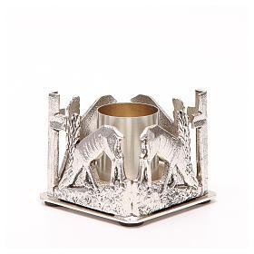 Portacandela bronzo argentato cervi alla fonte s6