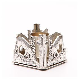 Portacandela bronzo argentato cervi alla fonte s8