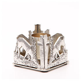 Portacandela bronzo argentato cervi alla fonte s4