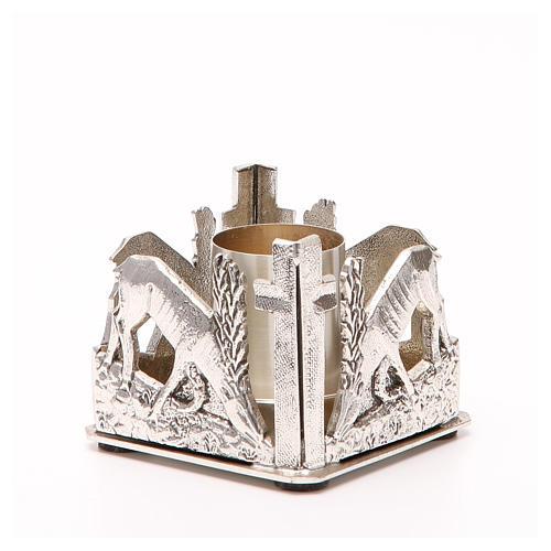 Portacandela bronzo argentato cervi alla fonte 8