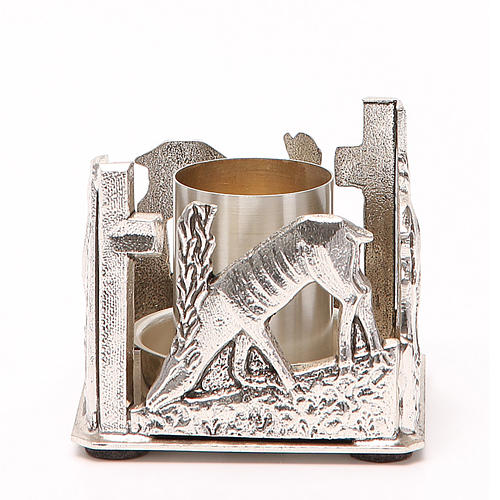 Portacandela bronzo argentato cervi alla fonte 1