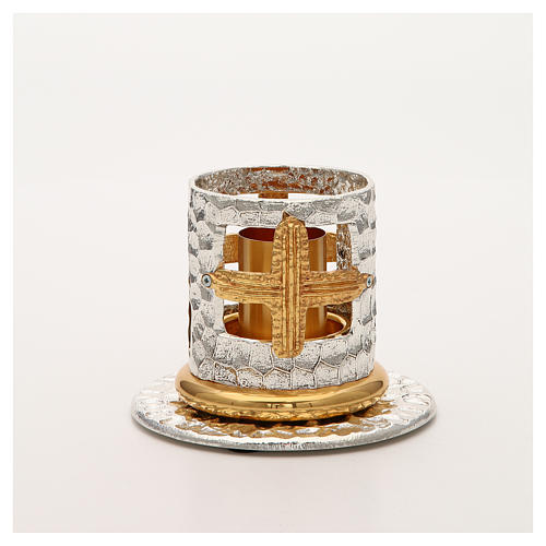 Altar candle holder with golden crosses 4