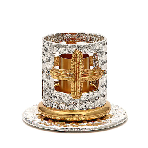 Altar candle holder with golden crosses 1