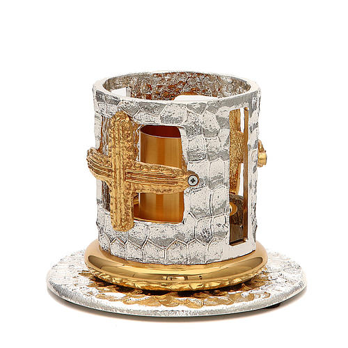 Altar candle holder with golden crosses 2