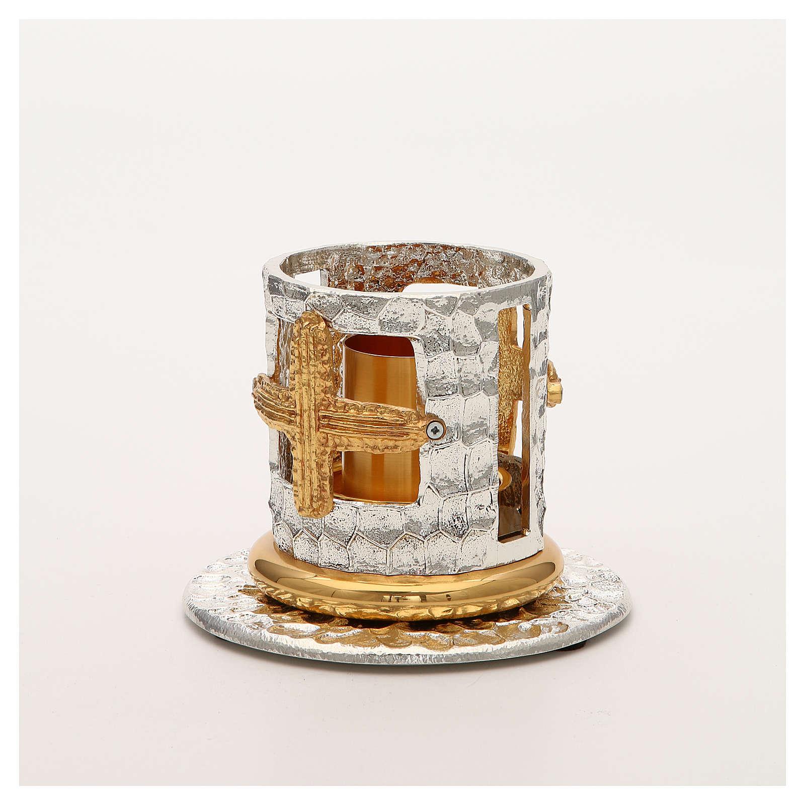 Portacandela bronzo argentato dorato croci decorate 4
