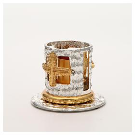 Portacandela bronzo argentato dorato croci decorate s5