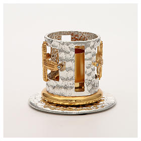 Portacandela bronzo argentato dorato croci decorate s6