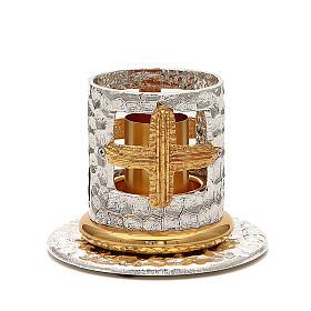 Portacandela bronzo argentato dorato croci decorate s1