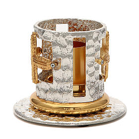 Portacandela bronzo argentato dorato croci decorate s3