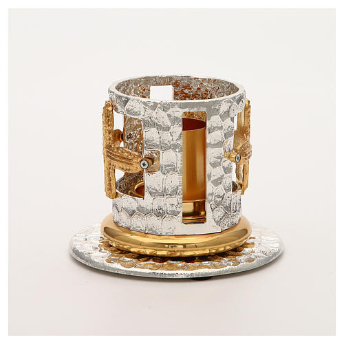 Portacandela bronzo argentato dorato croci decorate 6