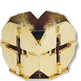 Portacandela bronzo dorato croci s1